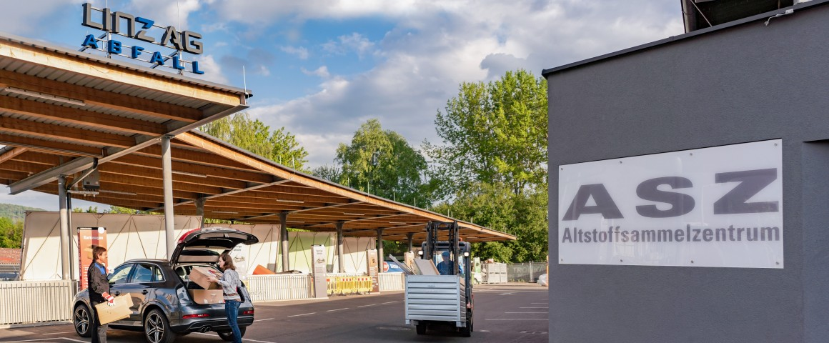 Außenaufnahme des Altstoffsammelzentrums Mostnystraße in Linz